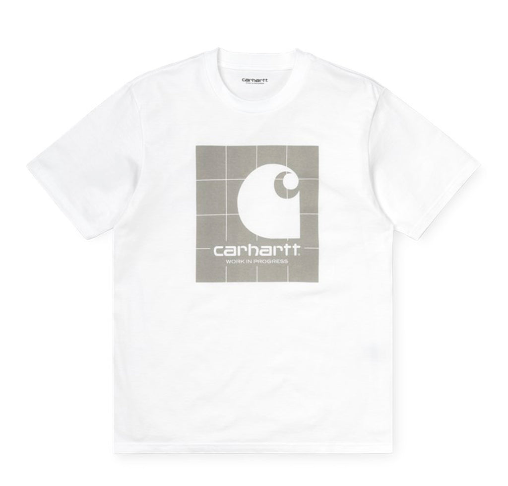 Carhartt WIP Reflective Square T-Shirt: White / Reflective Grey - The Union Project