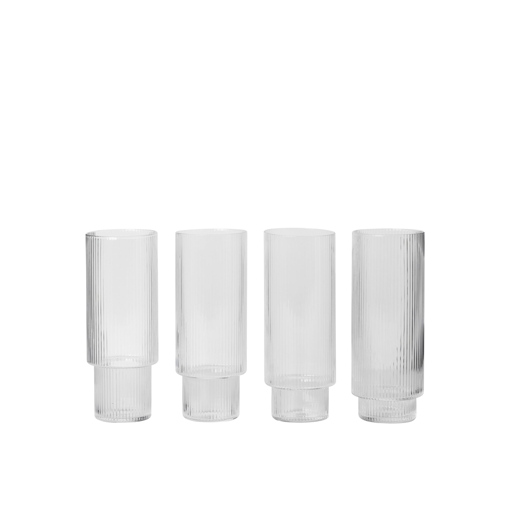 Ferm Living Ripple Long Drink Glasses (set of 4) - The Union Project