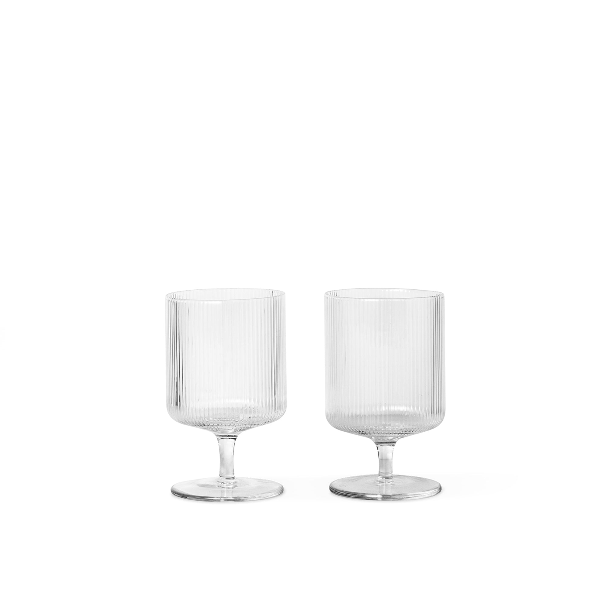 Ferm Living Ripple Wine Glasses: Clear (Set of 2) - The Union Project