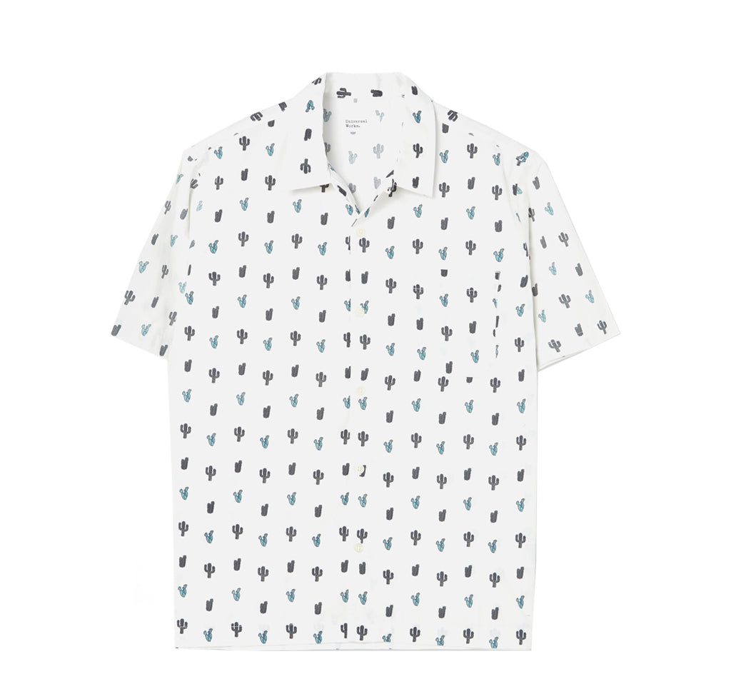 Shirts Universal Works Road Shirt: White Cactus Print - The Union Project, Cheltenham, free delivery