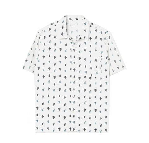 Universal Works Road Shirt: White Cactus Print