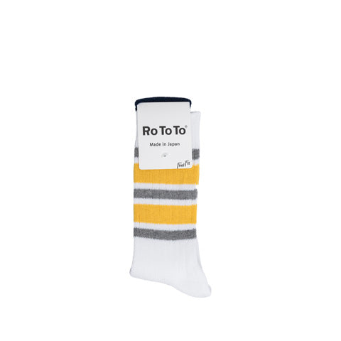 Socks Rototo 5 Stripes Ribbed Socks: Grey / Yellow - The Union Project, Cheltenham, free delivery