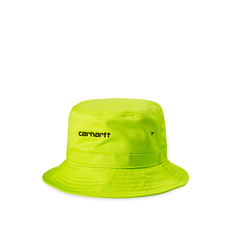 Headwear Carhartt WIP Script Bucket Hat: Lime/Black - The Union Project, Cheltenham, free delivery