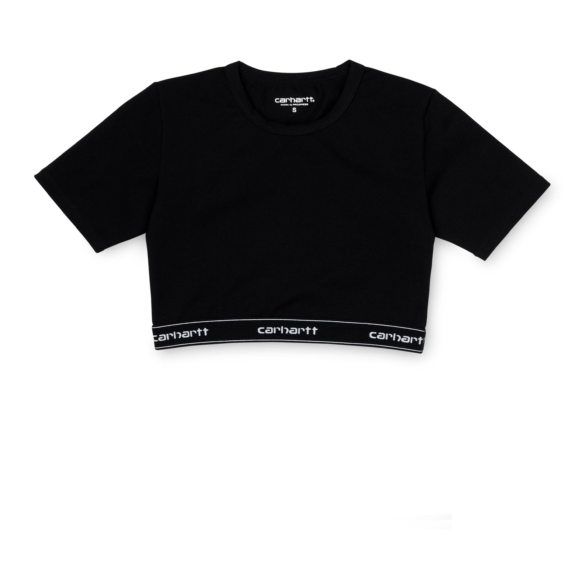 Carhartt WIP Womens Script Crop Top: Black / White - The Union Project