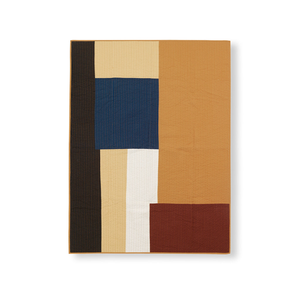 Ferm Living Shay Patchwork Quilt Blanket: Mustard - The Union Project