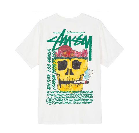 Stussy Smokin Skull Tee: Natural