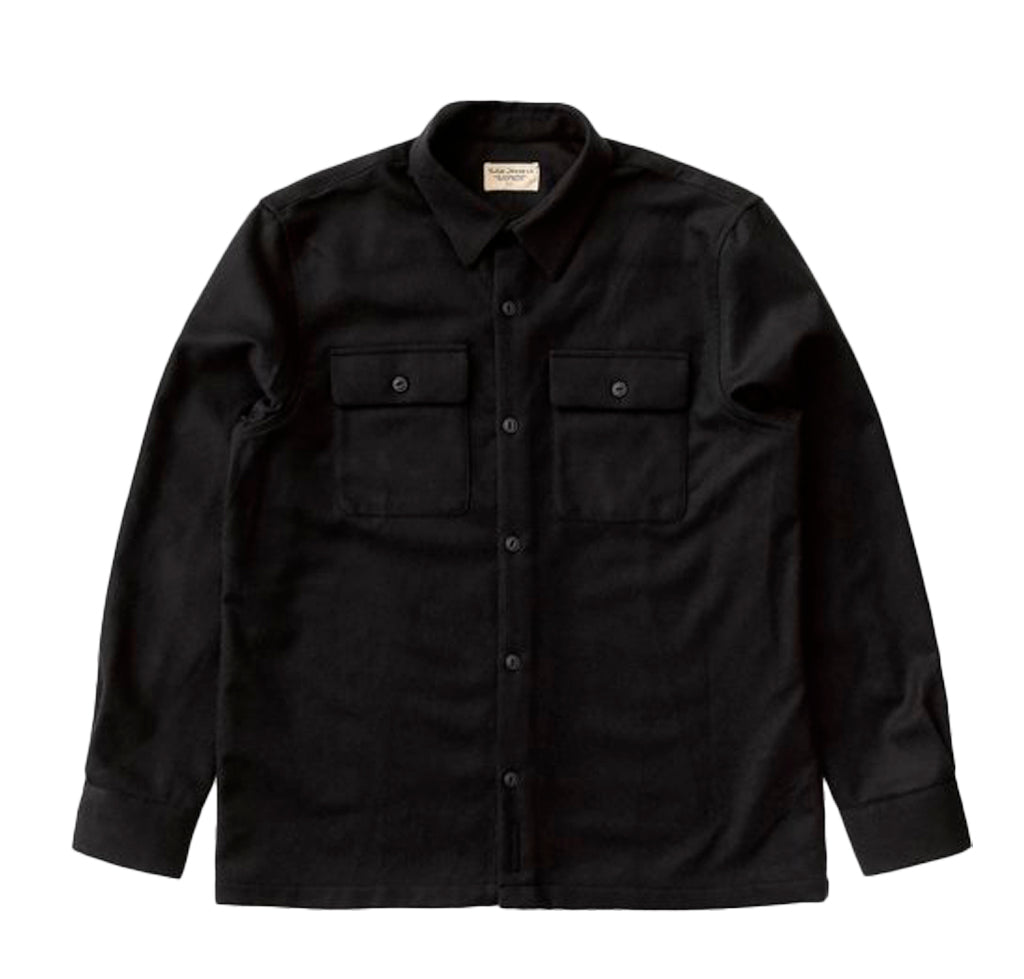 Nudie Jeans Sten Wool Shirt: Solid Black - The Union Project