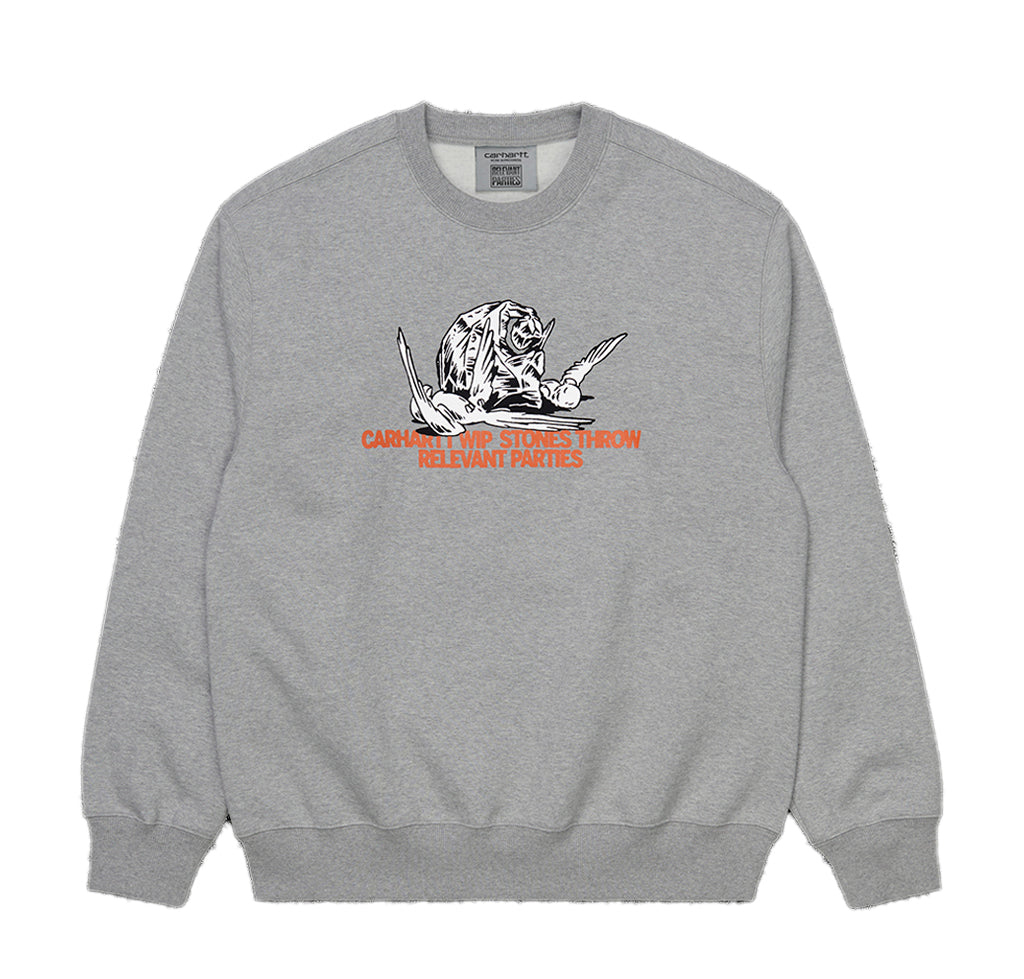 Sweats Carhartt WIP x Relevant Parties Stones Throw Sweatshirt: Grey Heather - The Union Project, Cheltenham, free delivery