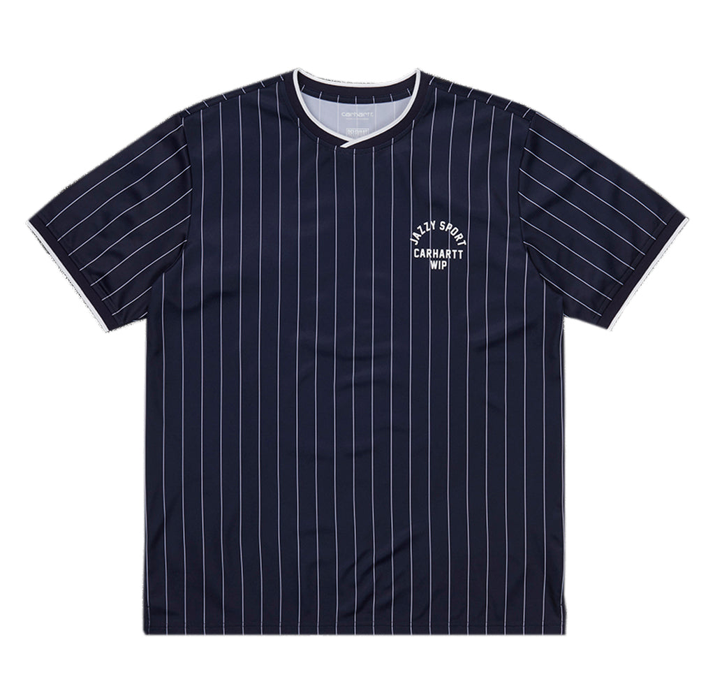 T-Shirts Carhartt WIP x Relevant Parties Jazzy Sport T-Shirt: Navy / White Stripes - The Union Project, Cheltenham, free delivery