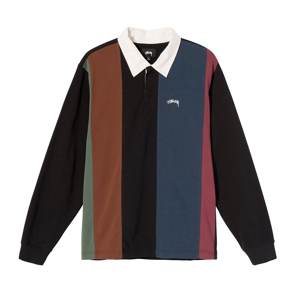 Rugby Shirts Stussy Vert Stripe LS Rugby: Black - The Union Project, Cheltenham, free delivery