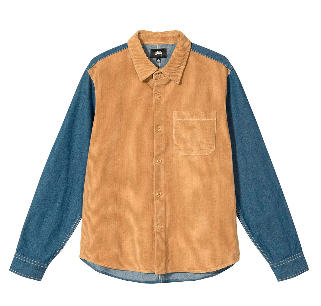 Shirts Stussy Cord Denim Mix Shirt: Khaki - The Union Project, Cheltenham, free delivery