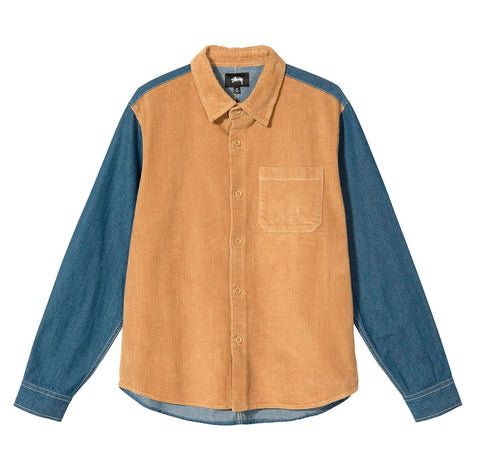 Stussy Cord Denim Mix Shirt: Khaki