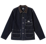 Stussy Brushed Moleskin Chore Jacket: Navy