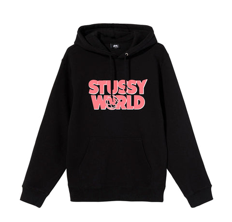 Hoods & Sweats Stussy World Hoodie: Black - The Union Project, Cheltenham, free delivery