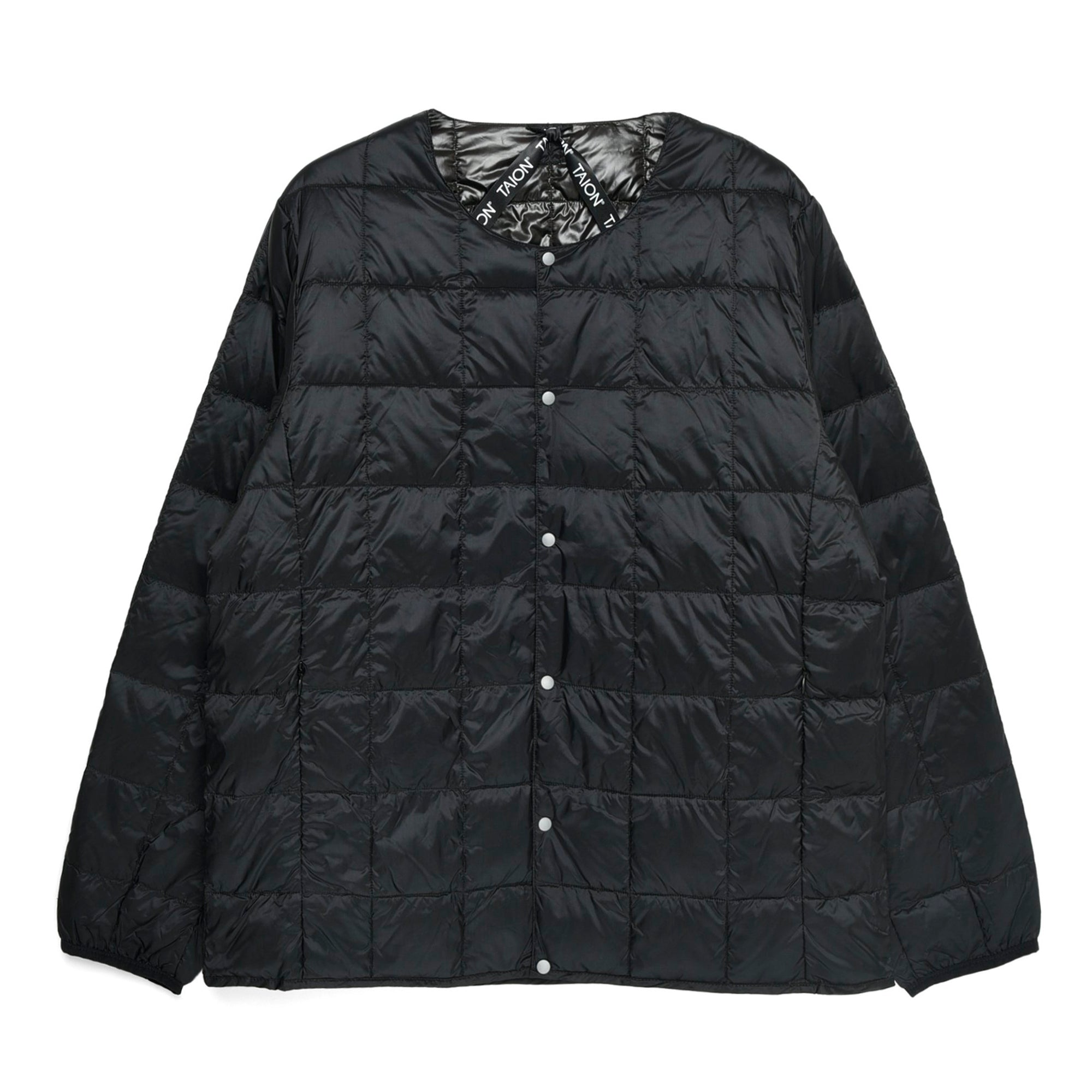 Taion Crew Neck Button Down Jacket: Black - The Union Project