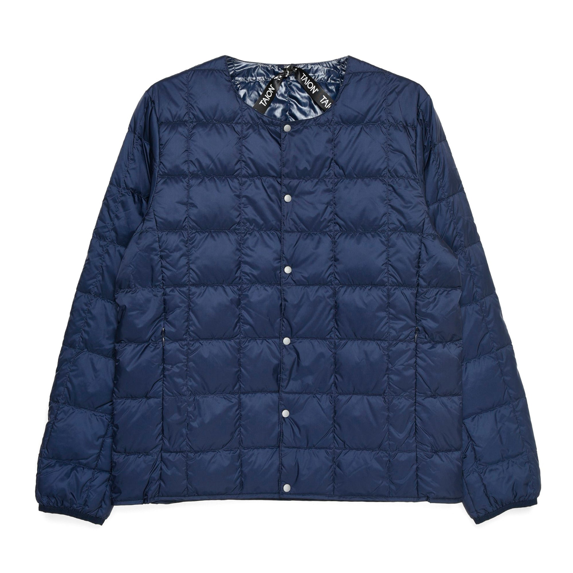 Taion Crew Neck Button Down Jacket: Navy - The Union Project