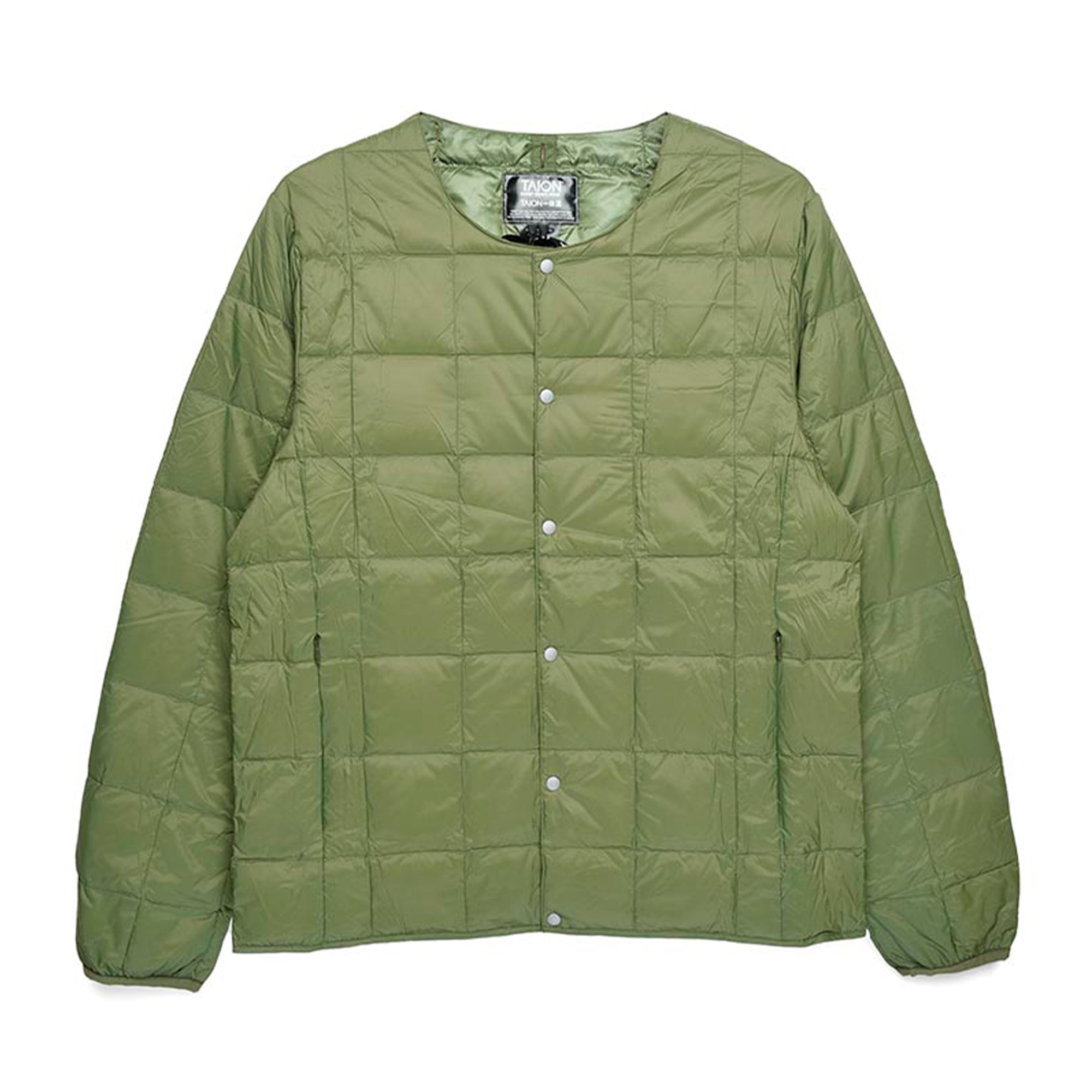 Taion Crew Neck Button Down Jacket: Olive - The Union Project