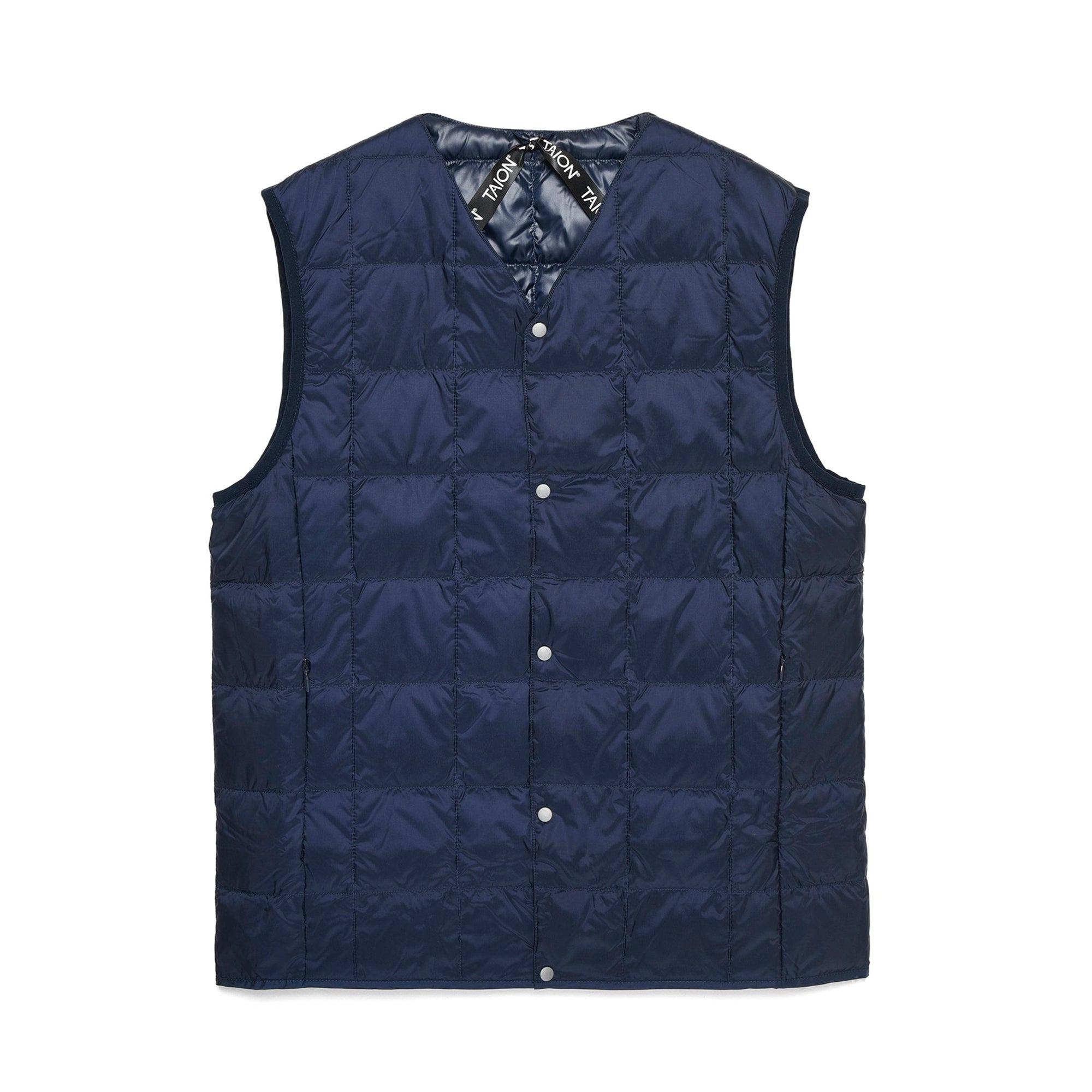 Taion V Neck Button Down Vest: Navy - The Union Project