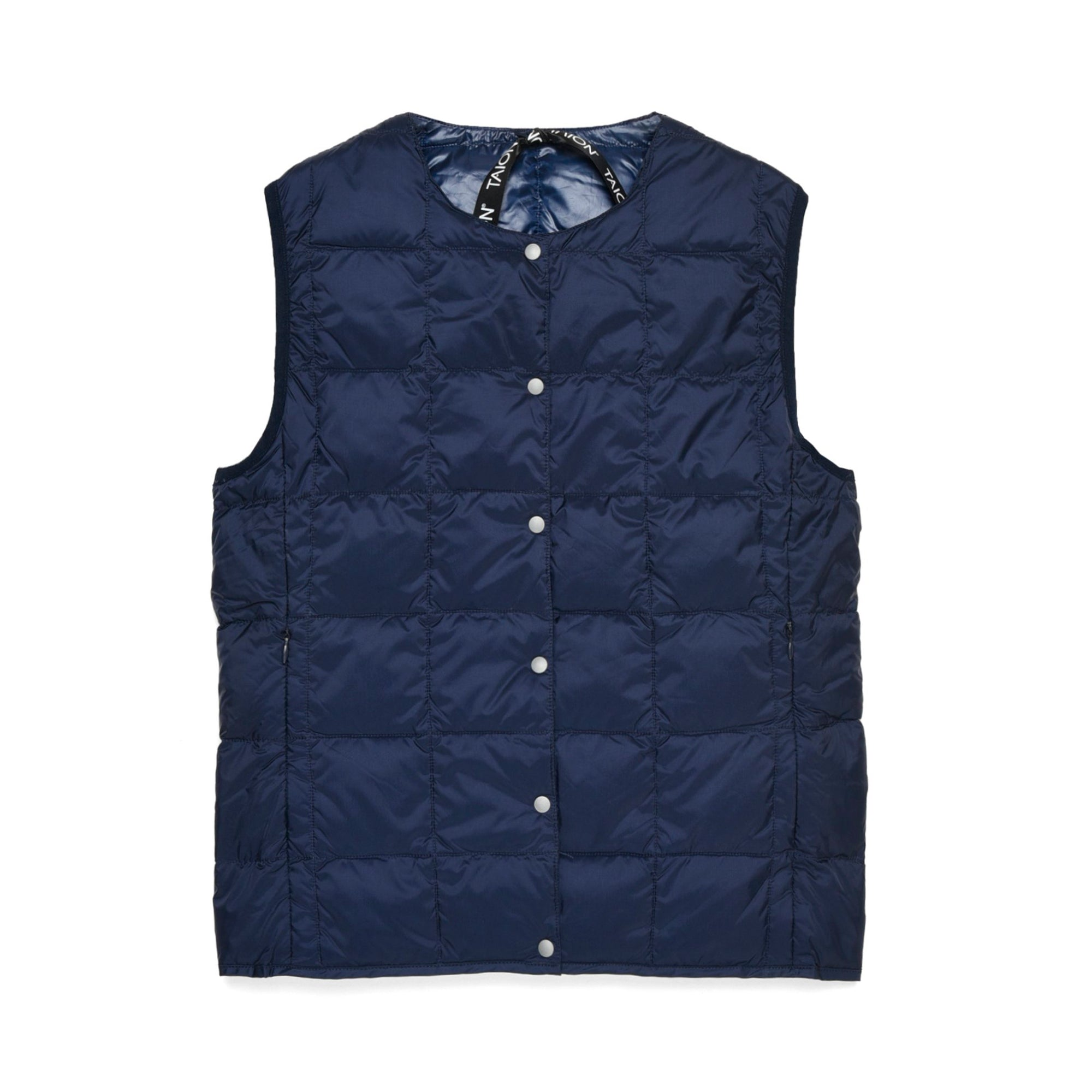 Taion Womens Crew Neck Button Down Vest: Navy - The Union Project