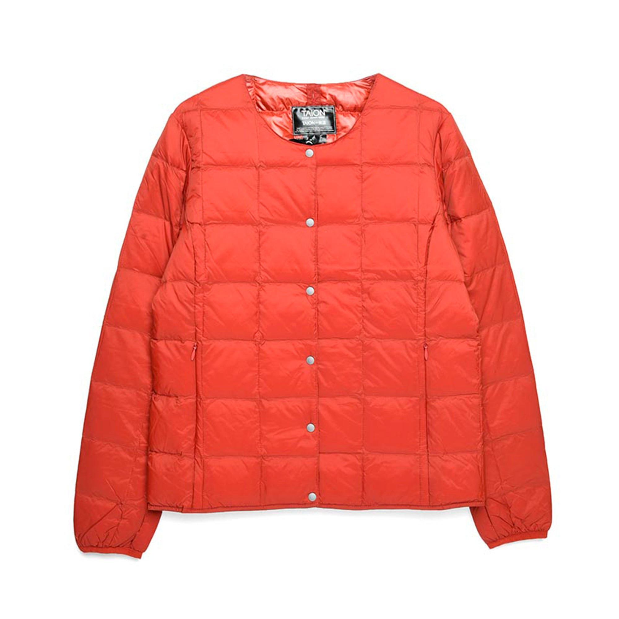 Taion Womens Crew Neck Button Down Jacket: Brick Red - The Union Project