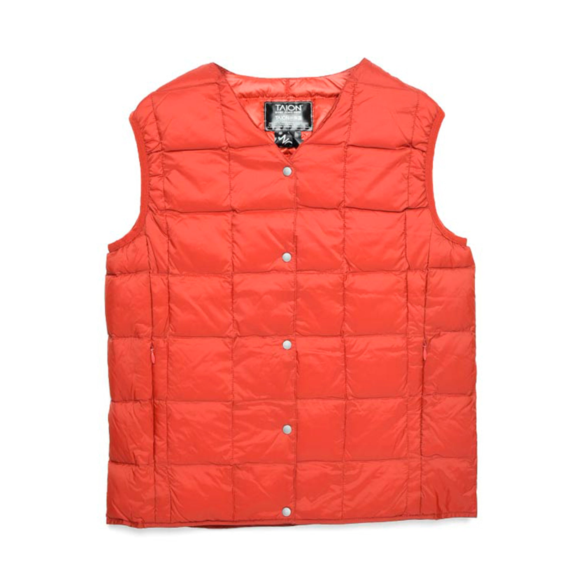 Taion Womens V Neck Button Down Vest: Brick Red - The Union Project