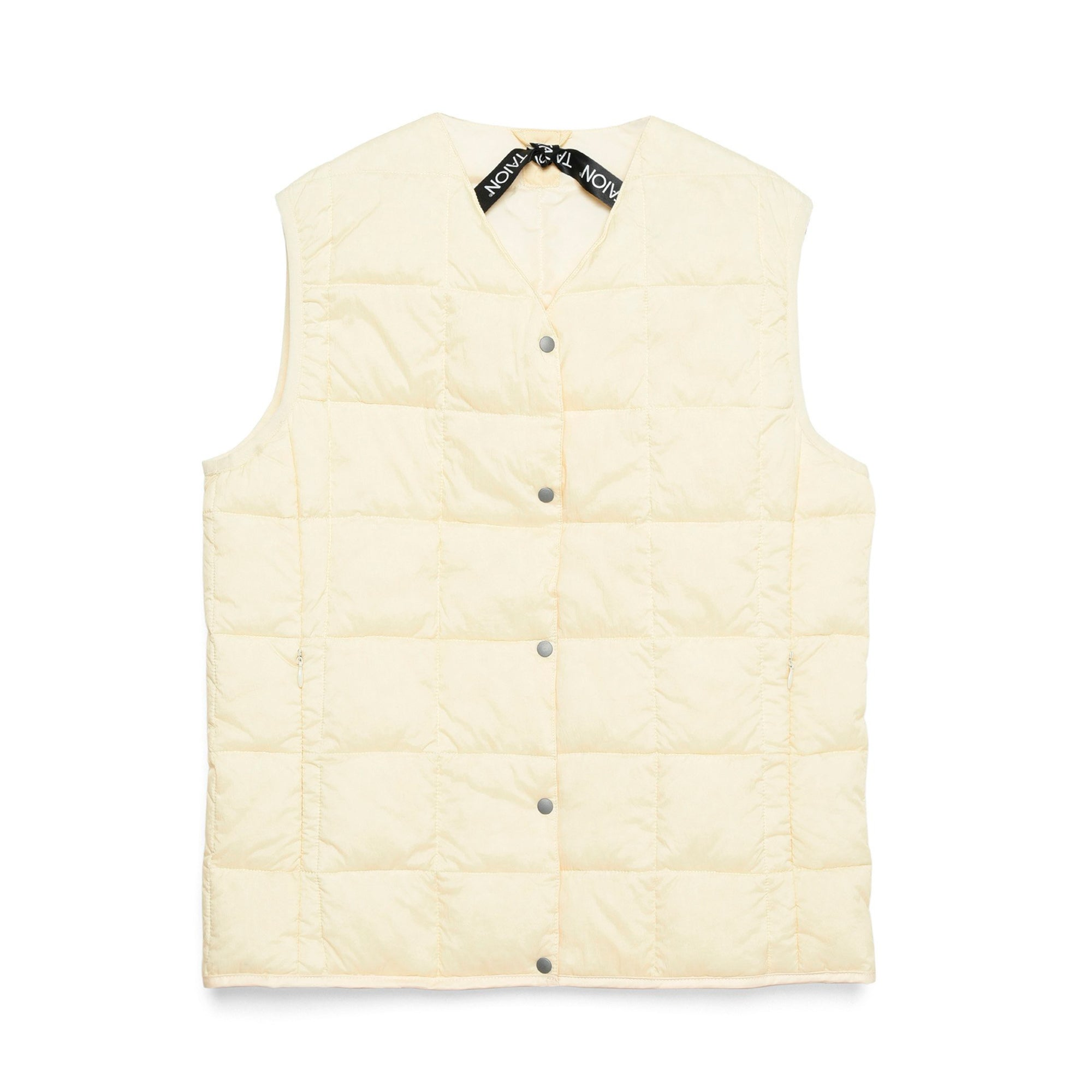 Taion Womens V Neck Button Down Vest: Off White - The Union Project