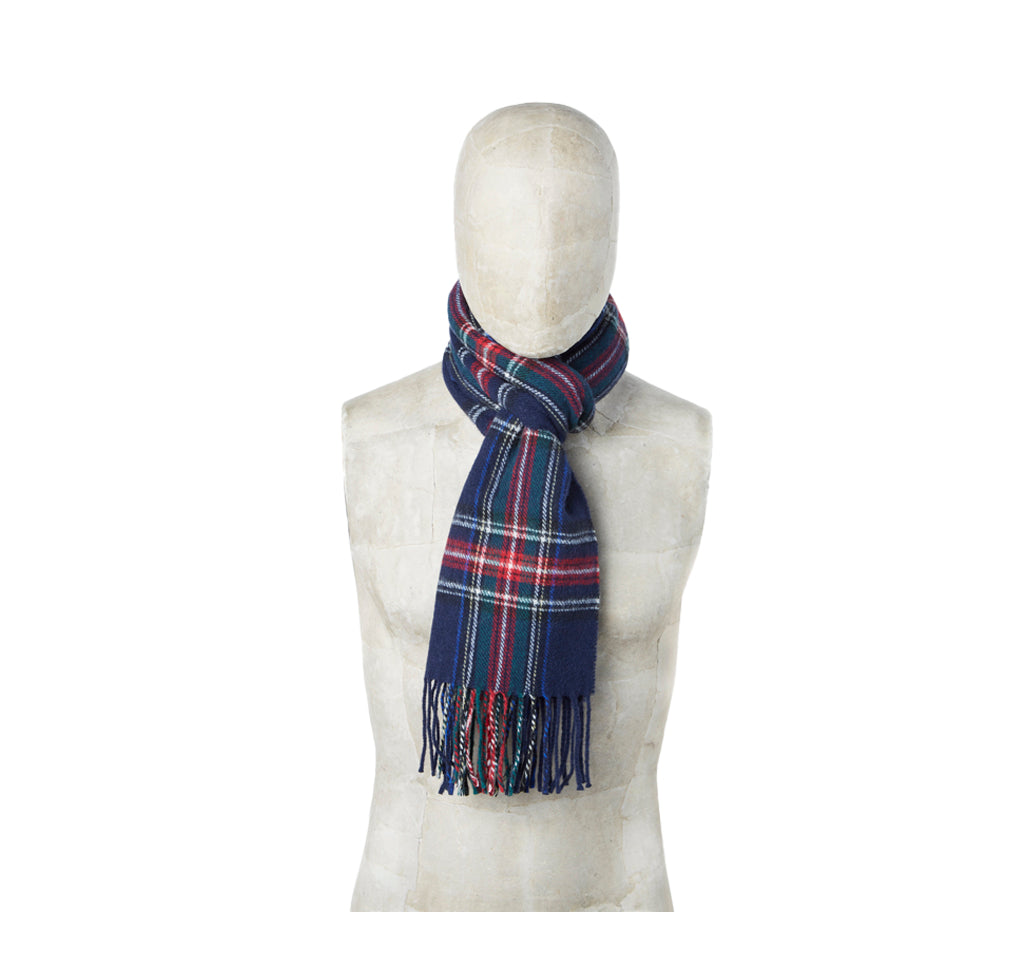 Universal Works Tartan Wool Scarf: Navy - The Union Project