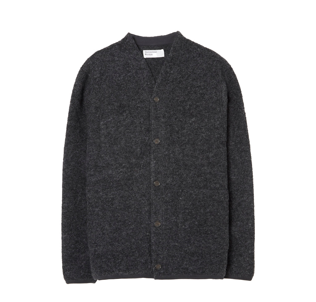 Universal Works Wool Fleece Cardigan: Charcoal - The Union Project