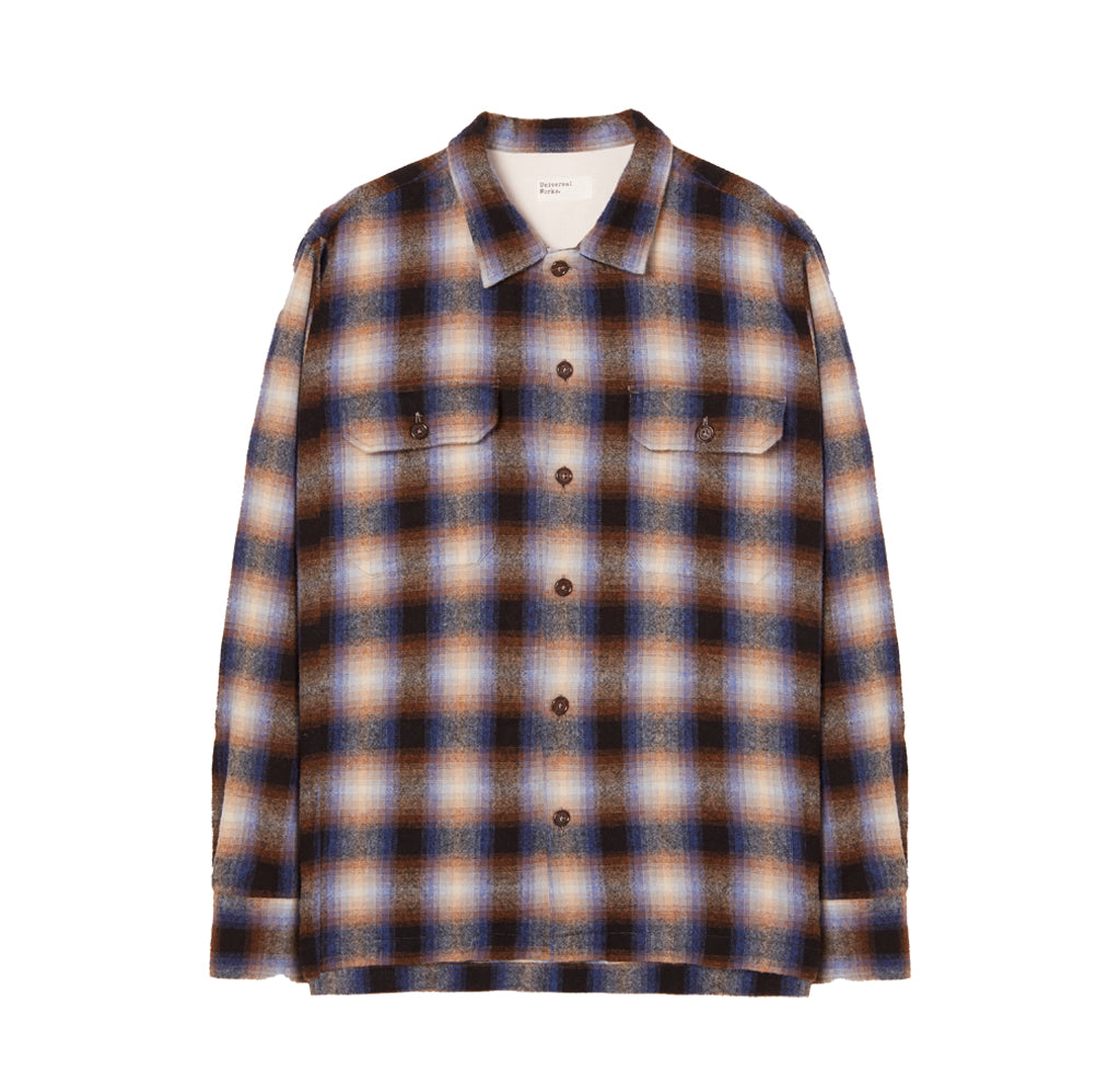 Shirts Universal Works Texas Wool Plaid Utility Shirt: Navy Check - The Union Project, Cheltenham, free delivery