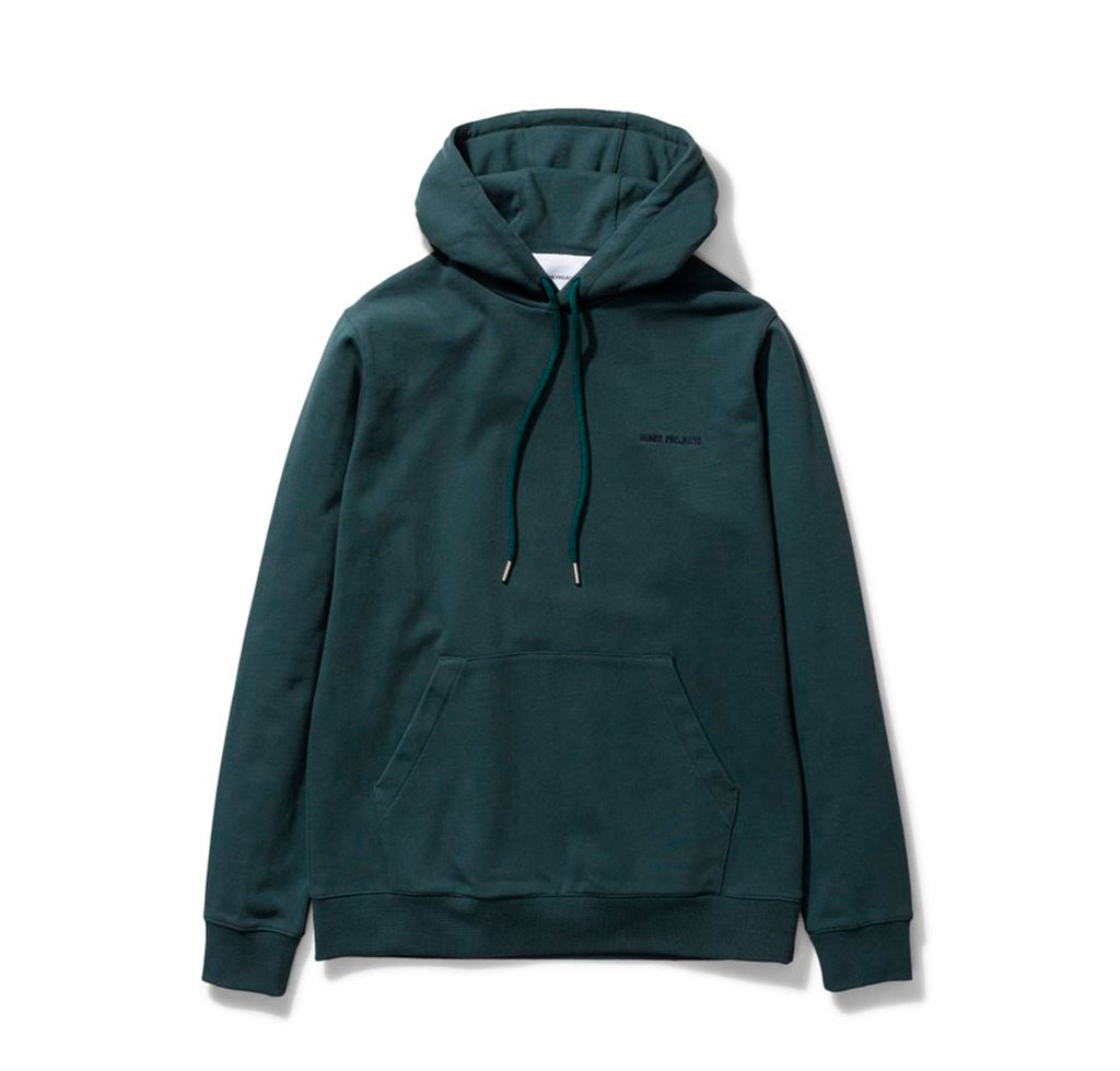Norse Projects Vagn Embroidered Logo Hood: Deep Sea Green - The Union Project