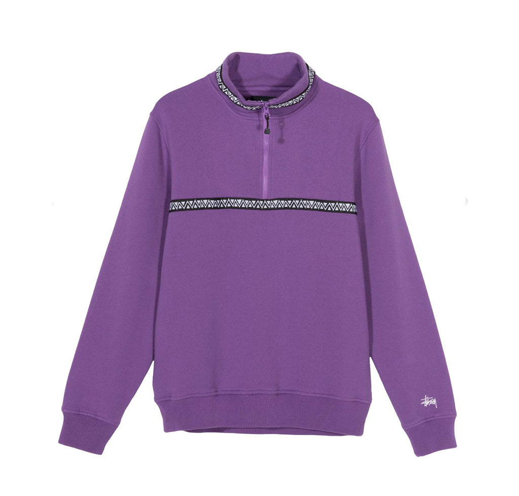 Stussy Woven Tape Mock Neck: Purple - The Union Project
