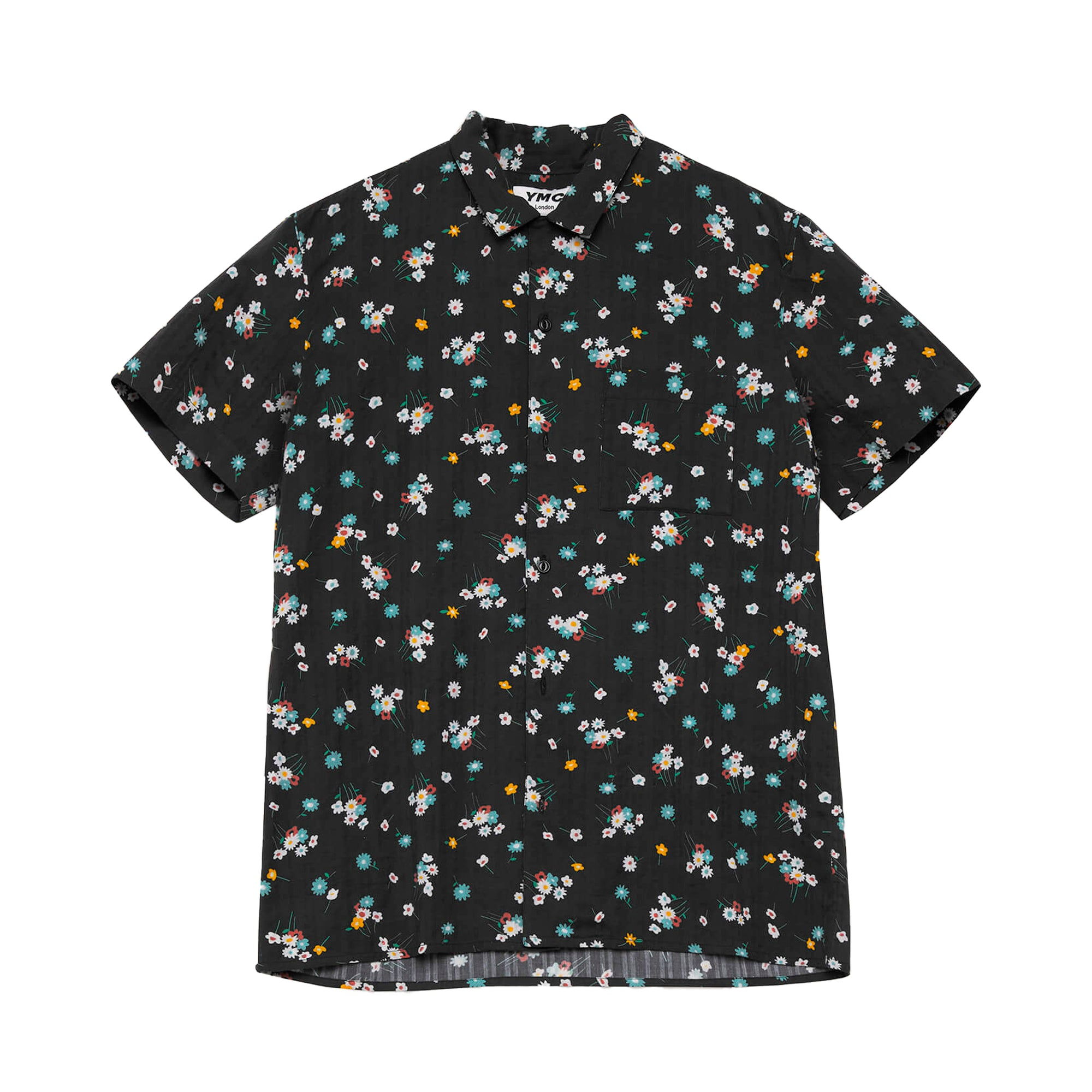 YMC Malick Floral Seersucker Shirt: Black - The Union Project