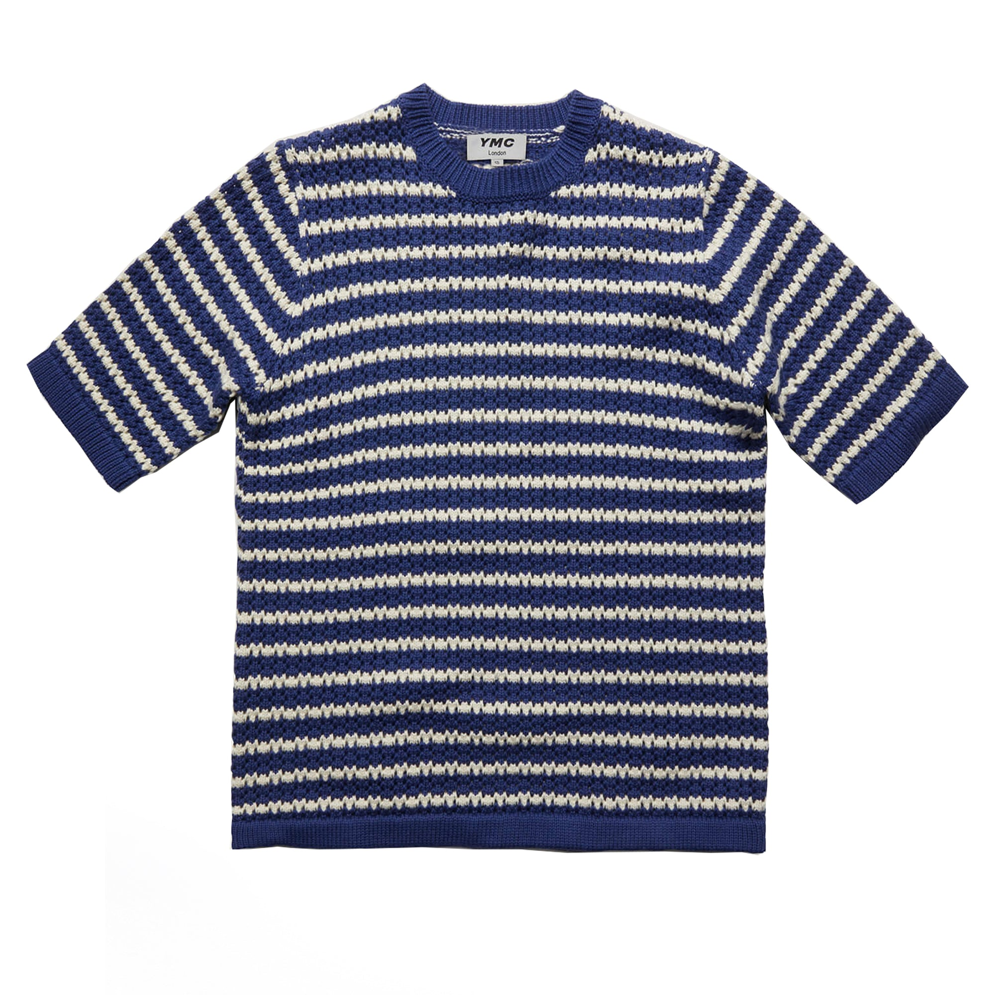 YMC Womens S/S Block Knit: Blue / Ecru - The Union Project