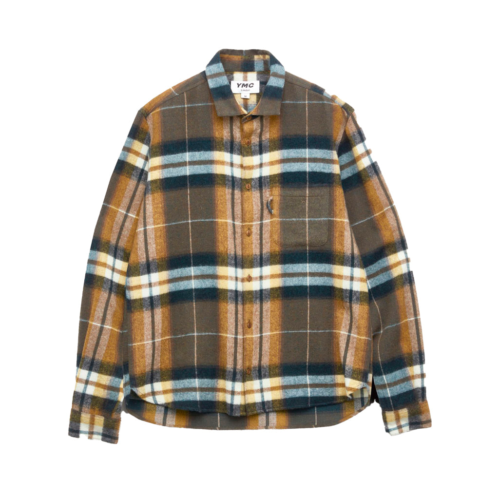 YMC Curtis Shirt: Olive Check - The Union Project