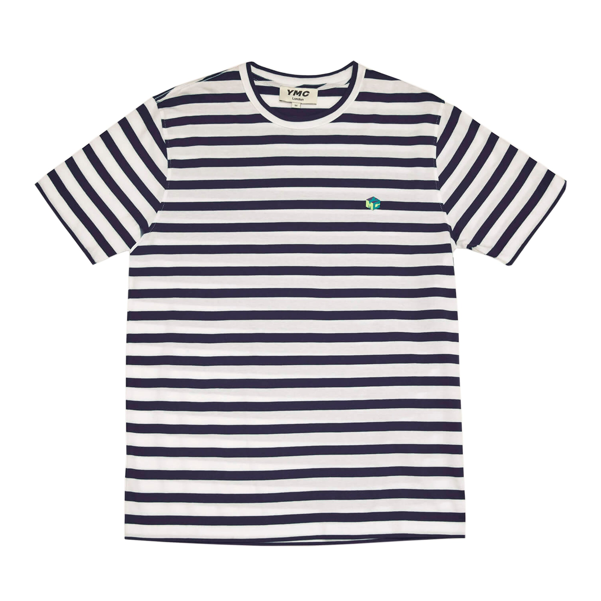 YMC Wild Ones Stripe T-Shirt: Ecru / Navy - The Union Project