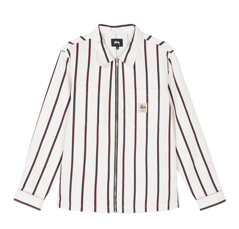 Stussy Zip Up Work Shirt: Stripe