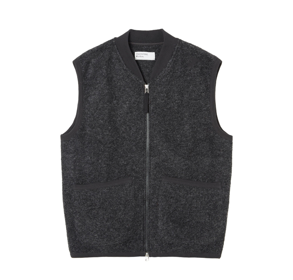 Hoods & Sweats Universal Works Zip Waistcoat Wool: Charcoal - The Union Project, Cheltenham, free delivery