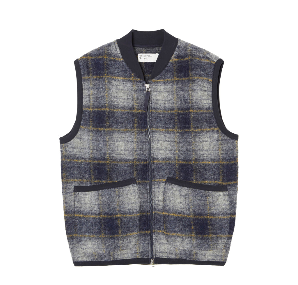 Waistcoats Universal Works Austin Wool Fleece Zip Waistcoat: Navy - The Union Project, Cheltenham, free delivery