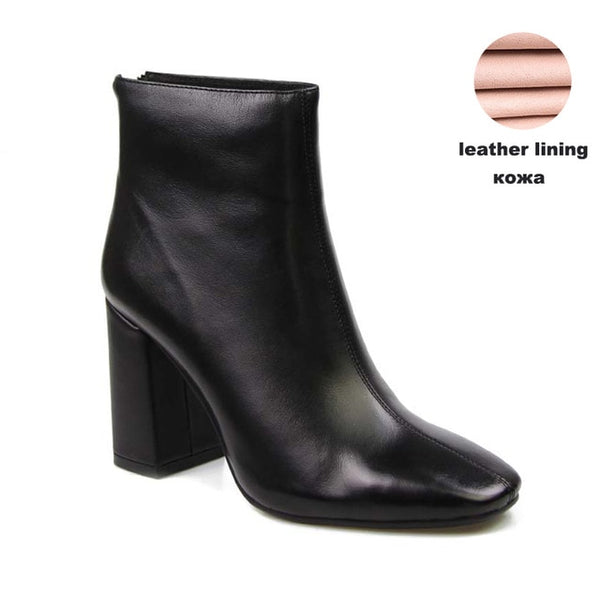 Genuine Leather Square Heel Ankle Boots - Nads Shoes