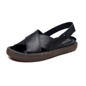 Genuine Leather Platform Sandals - Nads Shoes
