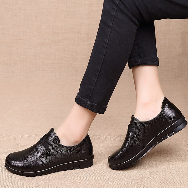 Genuine Leather Lace-Up Ladies Shoes - Nads Shoes