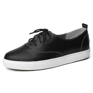 Lace-Up Genuine Leather Ladies Flats - Nads Shoes
