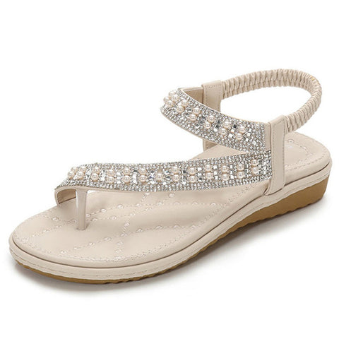 Rhinestone Low Wedge Sandals - Nads Shoes