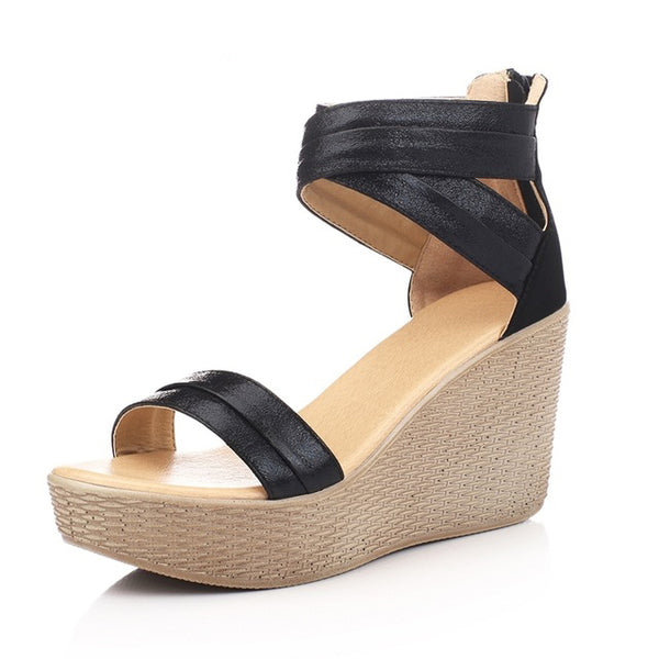 Ladies Genuine Leather Wedge Sandals - Nads Shoes