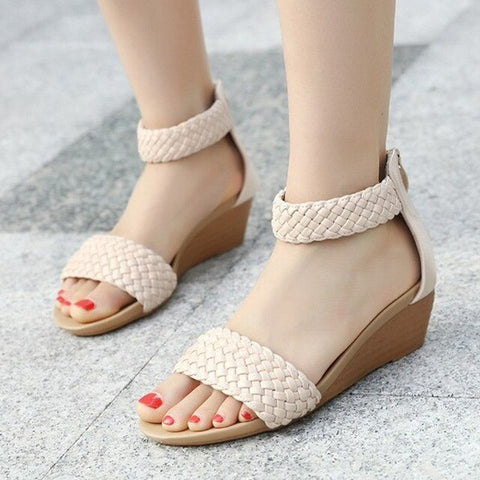 Weave Knit Ankle Wrap Wedge Sandals - Nads Shoes