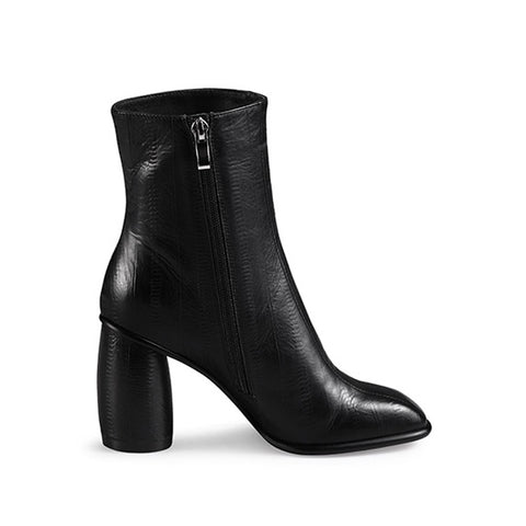 Genuine Leather Square Toe Ankle Boots