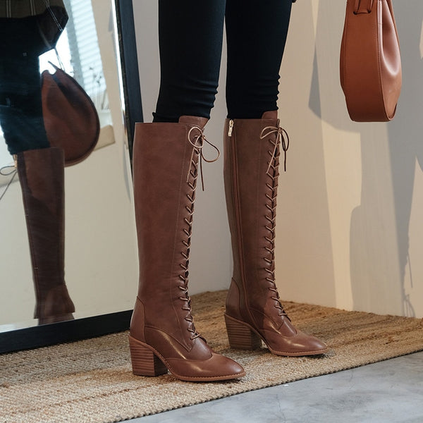 Genuine Leather Knee High Winter Boots - Nads Shoes