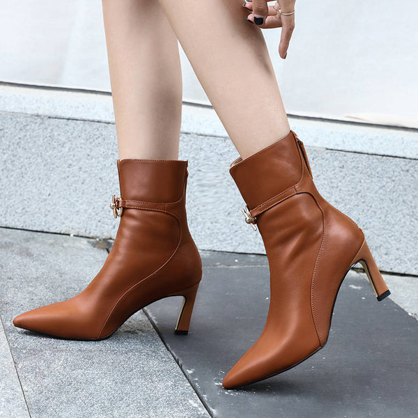Genuine Leather Pointed Toe Ankle Boots - Nads Shoes