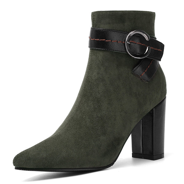 Chunky High Heel Ankle Boots - Nads Shoes