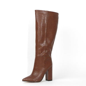 Designer Faux Leather Ladies Knee High Boots - Nads Shoes